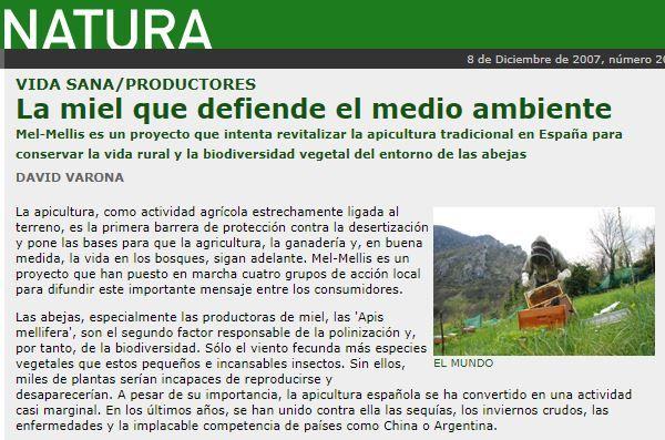 Recorte del suplemento Natura de El Mundo en el que habla sobre Colmenares de Vendejo